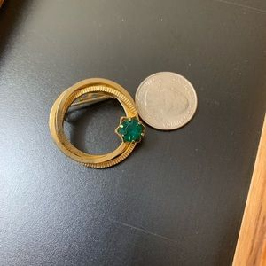 Jewelry - Vintage Goldtone Pin With Green Stone